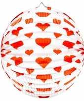 Ronde rood witte bollampion met hartjes
