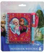 Rood blauw frozen notitieboekje met pen