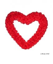 Rood deco hart met rode rozen 70cm