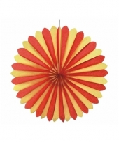 Rood geel decoratie waaiers 60 cm