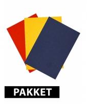 Rood geel en blauw a4 karton 6x