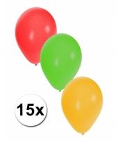 Rood geel groene ballonnen 15 stuks