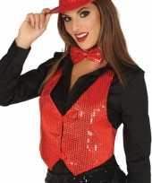 Rood gilet met glitters pailletten voor dames