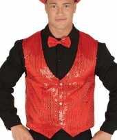 Rood gilet met glitters pailletten voor heren