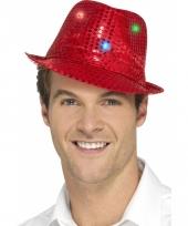 Rood glitter hoedje met led verlichting