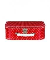 Rood koffertje met witte stippen 25 cm