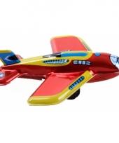 Rood met geel ouderwets speelgoed vliegtuigje 11 cm