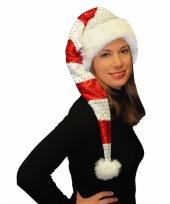 Rood met witte kerstmuts met pailletten