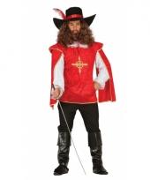 Rood musketierspak voor heren