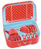 Rood poppen servies met koffertje