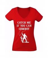 Rood t-shirt met cowboy catch me print voor dames