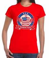 Rood usa drinking team t-shirt dames