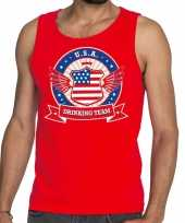 Rood usa drinking team tanktop mouwloos shirt heren