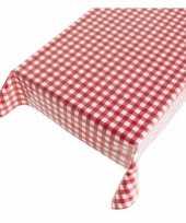 Rood wit tuin tafellaken voor buiten boerenruiten 140 x 170 cm pvc kunststof