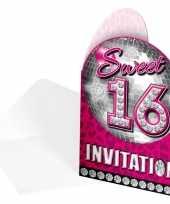 Roze 16 jaar uitnodiging kaarten 16 stuks 10145191