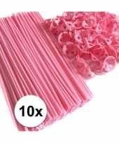 Roze ballonnenstaafjes ballonnenstokjes 10 stuks