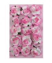Roze bloemetjes van papier 1 5 cm