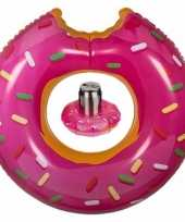 Roze donut zwemringen zwembanden en drankhouders bekerhouders set