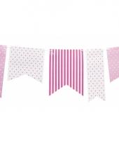 Roze feest vlaggenlijn met stippen