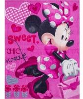 Roze fleece kleedje minnie mouse voor meisjes 90 x 120 cm