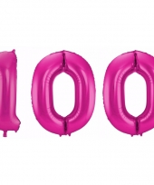 Roze folie ballonnen 100 jaar