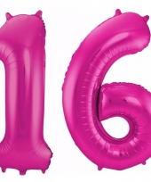 Roze folie ballonnen 16 jaar