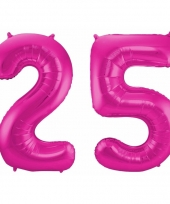 Roze folie ballonnen 25 jaar