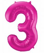 Roze folie ballonnen 3 jaar 10089589