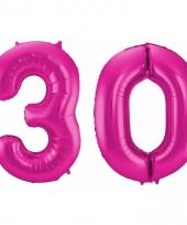 Roze folie ballonnen 30 jaar