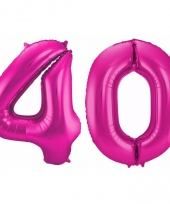 Roze folie ballonnen 40 jaar