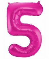 Roze folie ballonnen 5 jaar 10089591