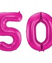 Roze folie ballonnen 50 jaar
