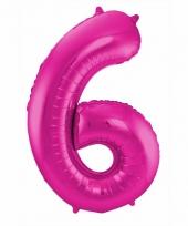 Roze folie ballonnen 6 jaar 10089592