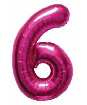 Roze folie ballonnen 6 jaar