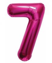 Roze folie ballonnen 7 jaar