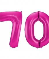 Roze folie ballonnen 70 jaar