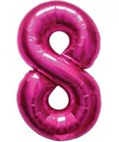 Roze folie ballonnen 8 jaar