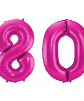 Roze folie ballonnen 80 jaar