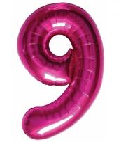 Roze folie ballonnen 9 jaar