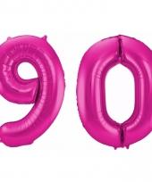 Roze folie ballonnen 90 jaar