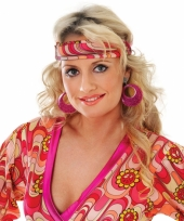 Roze hippie oorbellen met glitter