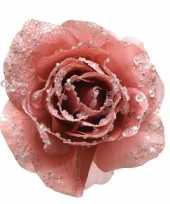 Roze kerstbloemen op clip 14 cm