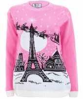 Roze kerstmis trui paris voor vrouwen