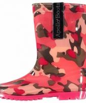Roze kinder regenlaars camouflage print