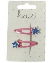 Roze klikklaks speldjes met blauwe sterren