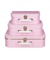 Roze koffertje met witte stip 25 cm