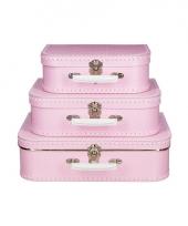 Roze koffertje met witte stip 30 cm