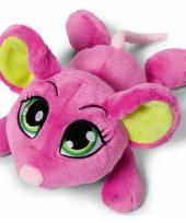 Roze muis knuffel liggend 25 cm