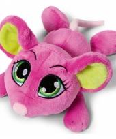 Roze muis knuffel liggend 50 cm