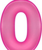 Roze opblaasbare getal 0